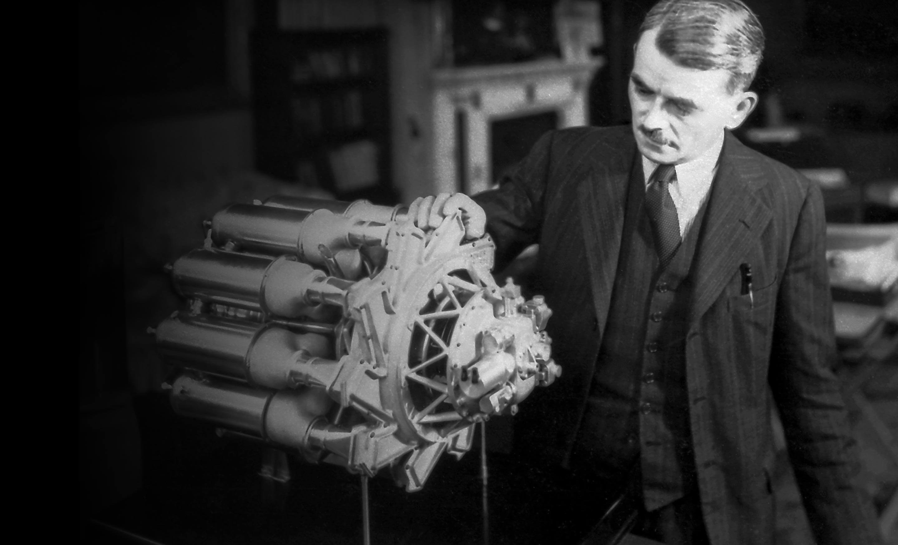 Sir Frank Whittle with a jet engine