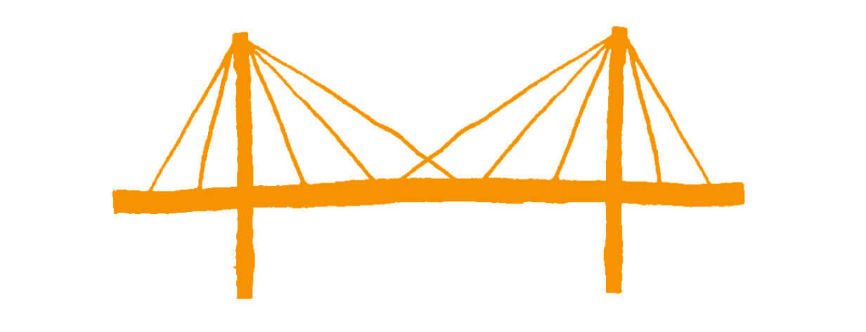 Drawing of a suspension bridge.